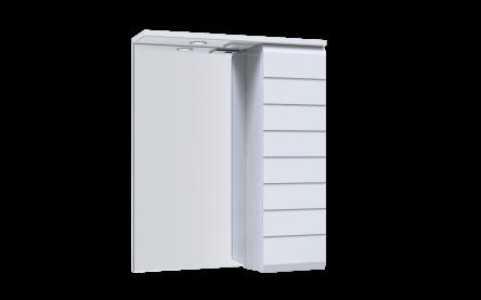 Aquart LINE Зеркало 50 (Белое), со шкафчиком и подсветкой