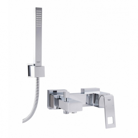 Grohe EUROCUBE смеситель для ванны, однорычажный, с душевым гарнитуром (ручной душ+шланг+держатель) - 23141000