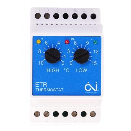 Oj Electronics Терморегулятор ETR/F-1447A для системами обігріву в водостоках має зовнішній датчик температури повітря (у комплекті)