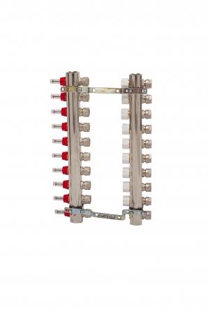 Luxor Коллекторная группа с отсекателями и термо клапанами М30х1,5 9 вых. для радиаторов