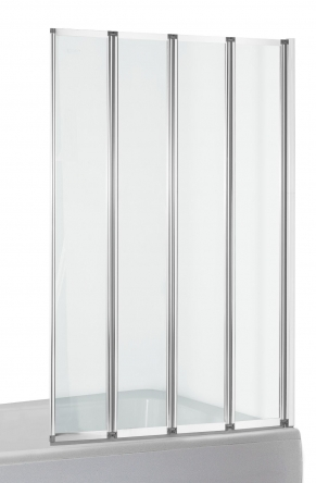 EGER Шторка-гармошка на ванну 89*140см, прозрачное стекло 5мм, профиль хром - 599-110