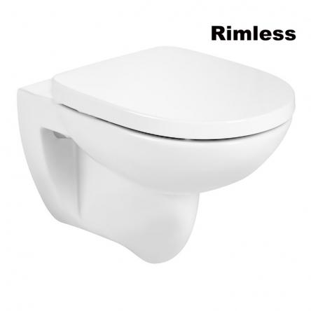 Roca DEBBA Round Rimless чаша подвесного унитаза, в комплекте с сиденьем SUPRALIT, с анти-бактериальной структурой, с системой плавного опускания - A34H996000