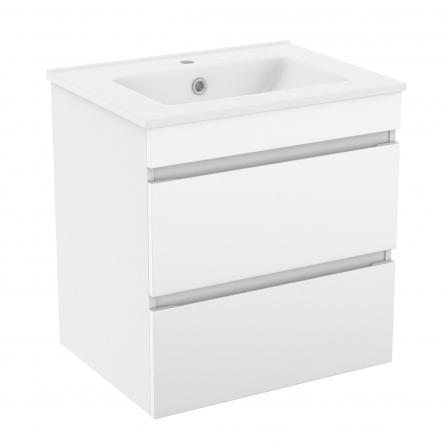 VOLLE FIESTA комплект мебели 60см белый: тумба подвесная, 2 ящика + умывальник накладной арт 13-01-042A - 15-600-01
