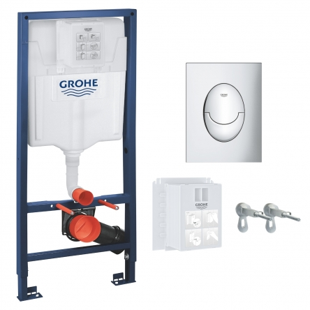 Grohe RAPID SL 3в1 комплект для подвесного  унитаза (бачок, крепеж, кнопка хром - двойн. слив 37965000) - 39503000
