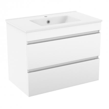 VOLLE FIESTA комплект мебели 80см белый: тумба подвесная, 2 ящика + умывальник накладной арт 13-01-042D - 15-800-01