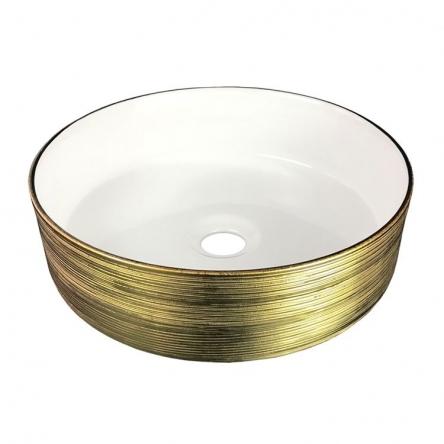 VOLLE Умывальник 36*36*12см накладной керамический круглый, золото/белый - 13-40-222G