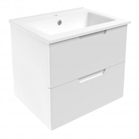 VOLLE LIBRA комплект мебели 60см белый: тумба подвесная, 2 ящика + умывальник накладной арт 15-41-060 - 15-41-61
