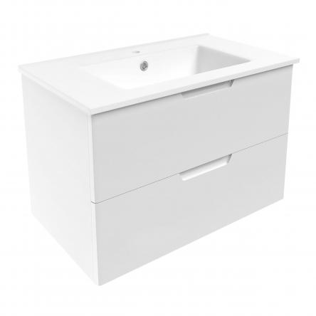 VOLLE LIBRA комплект мебели 80см белый: тумба подвесная, 2 ящика + умывальник накладной арт 15-41-80 - 15-41-81