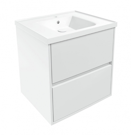 VOLLE TEO комплект мебели 65см белый: тумба подвесная, 2 ящика + умывальник накладной арт 15-88-060 - 15-88-61