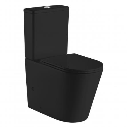VOLLE NEMO BLACK Rimless компакт 67*38,5*84,5см напольный, матовый, гор. выпуск, нижний подвод, бачок 3/4,5 л, сиденье твердое Slim slow-closing - 13-17-377 Black