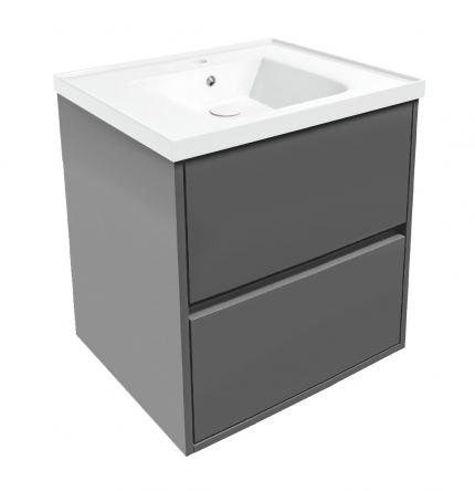 VOLLE TEO комплект мебели 65см серый: тумба подвесная, 2 ящика + умывальник накладной арт 15-88-060 - 15-88-61G