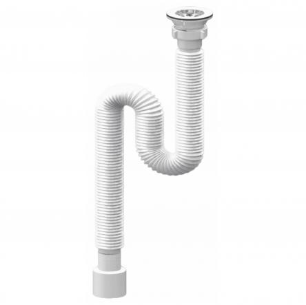 RJ Сифон для умывальника, гофровый, с разборным выпуском, сетка выпуска ?65 мм, гофра ?40/50 мм, 400-1200 мм : RSG405012