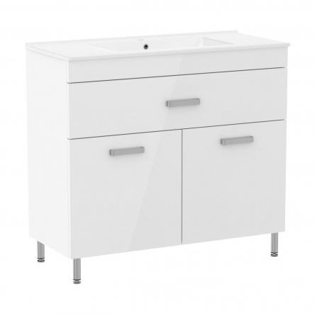 RJ VELUM комплект мебели 90см, белый: тумба напольная, 1 ящик, 2 дверцы + умывальник накладной арт RZJ910 : RJ82900