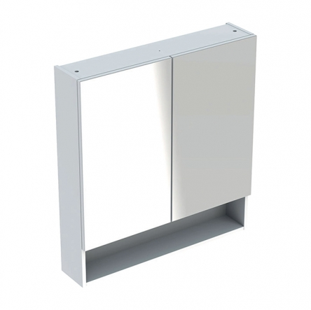Geberit SELNOVA Square шкафчик зеркальный 78,8*85*17,5см, двухдверный, белый глянец - 501.268.00.1